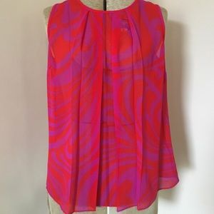Michael Kors MK Sheer Abstract Print Swirl Top XS